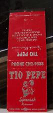 Rare Vintage Matchbook Cover R1 Tio Pepe Spanish Restaurant New York City