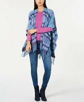 ECHO Womens Poncho Scarf Lofty Plaid Blue and Purple $79 - NWT