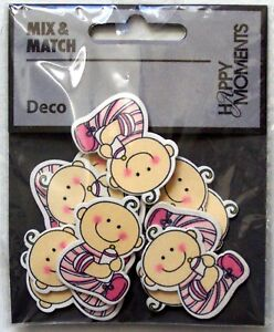 Baby Pink Painted Wooden Embellishments, Card Making or Scrapbooking.10 pcs