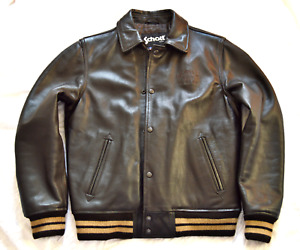 Superb Men's SCHOTT V. Dark Brown Heavy Leather Varsity Jacket V. Good Condition