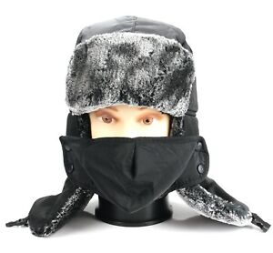 Trapper Bomber Pilot Russian Trooper Fur Winter Ski Hat Men Women Mask Ushanka