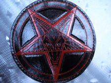 LEATHER TOOLING CARVED BAPHOMET BACKPATCH.(leatherBK07) black metal. ANTON LAVEY