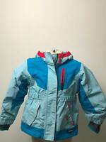 BOYS LANDS END LIGHT BLUE & RED HOODED PADDED COAT JACKET KIDS AGE 3 YEARS