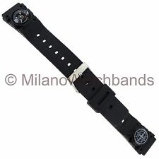 18mm Speidel Compass Nautical Symbol Black Rubber Mens Sports Watch Band 775