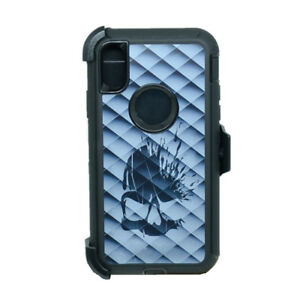 For Apple iPhone X Defender Rugged Case Cover (Clip Fits Otterbox) Diamond Skull