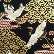 Japanese cranes fabric, metallic heron stork birds, gold black, oriental chinese