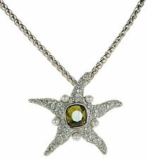 Kenneth J Lane Simulated Pearl & Crystal Starfish Pendant Necklace