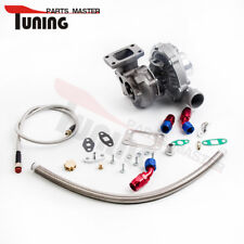 Universal Turbo T3T4 T04E A/R .50 A/R. 63 oil cold 5 bolt Flange & Oil Line