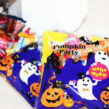 100x Halloween Trick or Treat Bags Cellophane Sweet Food Packaging Gift Bag