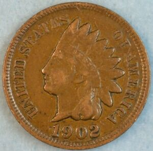 1902 Indian Head Cent Vintage Penny Old US Coin Liberty Full Rims Fast S&H 498