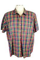 LL Bean, Men's 2XL Reg Slightly Fitted Shirt, Blue, Green, Red, Yellow Plaid SS