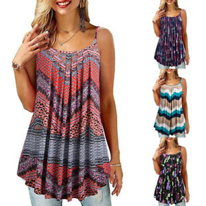 Ladies Casual Vest Tank Sleeveless Tops Floral Print T Shirt Tunic Blouses Tee