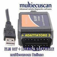 Multiecuscan ELM modificata CAN + Licenza elm 327 Panda Gpunto Mito Giulietta +3