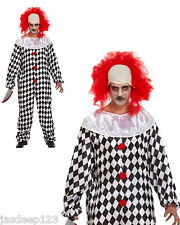 Mens Scary Evil Clown Halloween Fancy Costume With Red Wig Fun Horror Adult Size