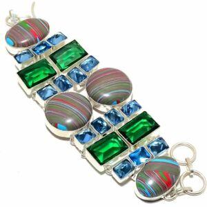 "Rainbow Calsilica & Tsavorite Silver Handmade Jewelry Bracelet 7-8"" (908)"