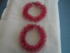 2 Red Vintage Bottle Brush Christmas Wreath with Snow 7 inches in diameter