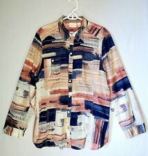 Chicos 3 long Sleeve Blouse Multicolored Button-down 100%Cotton light Shirt