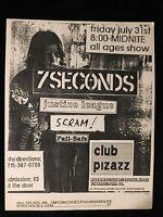ORIGINAL CONCERT FLYER-7 SECONDS-JUSTICE LEAGUE-SCRAM-Club Pizazz Philly-1980s