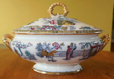 Striking Antique Ironstone Polychrome Soup Tureen Staffordshire Chinese Pattern