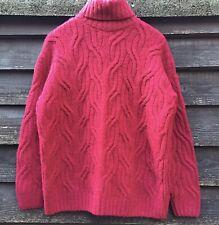 M&S Cerise Wool Alpaca Mix Cable Super Cosy Roll Neck Jumper Size M