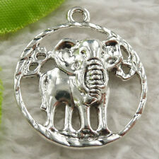 48 pieces tibet silver round elephant charms 31x27mm #4643 free ship