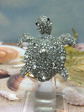 TURTLE SILVER RING SPARKLING WHITE CRYSTAL STONES NEW LADY STRETCH SIZE 7 8 9 10