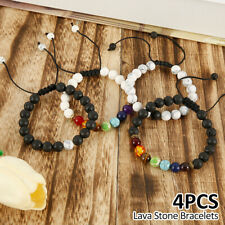 4Pcs 7 Chakra Healing Bracelet Lava Balance Stone Beads Reiki Anxiety Men Women
