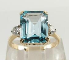 LARGE 9K 9CT GOLD 11mm x 9mm BLUE TOPAZ DIAMOND ART DECO INS RING FREE RESIZE