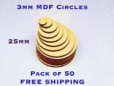 BUMPER 50 PACK Great Deal 25mm plain wooden Circles Warhammer Base Embelishments