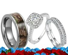 plated Engagement wedding band ring set His Titanium Camo and Her Cz silver