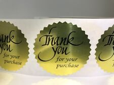 "250 THANK YOU FOR YOUR PURCHASE 2"" STICKER Starburst Gold Foil NEW THANK YOU NEW"