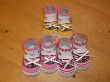 Little Me 3 Pairs Bow Trimmed Trainer Patterned Socks 0-12mths White Mix BNWoT