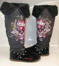 Ed Hardy love kills slowly US 8 Black Suede Tall Bling Tat Pull-on Winter Boots