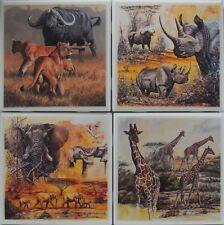 New listing Set of 4 - Handmade Natural Stone Ceramic Tile Drink Coasters - Wild Animals 1 F
