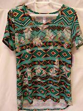 Lularoe Classic T Shirt Short Sleeve Green with Multi Color Stripe Print M #5893