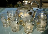 Vintage Retro Gold and Flower Jug / Pitcher and 6 Glasses 2000ml