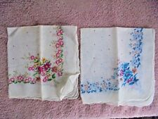 Vtg Floral Print Mix Pink Blue Womens Vintage Handkerchief Hankie Lot 2