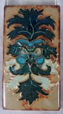 Vintage Zsolnay Pottery Art Nouveau Craftsman Ceramic Tile Owl Face