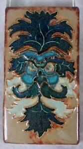 Zsolnay Porcelain Pottery Art Nouveau Craftsman Era Ceramic Tile Owl Face Rare
