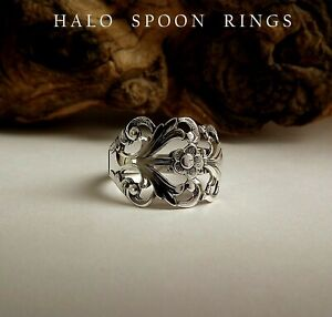 VERY PRETTY NORWEGIAN SOLID SILVER SPOON RING VIKING ROSE PERFECT CHRISTMAS GIFT