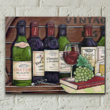 "VINTAGE WINE KITCHEN DRINK CERAMIC PICTURE TILE WALL ART PLAQUE 11X14"" 05415"