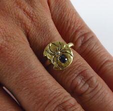 Antique 10k Gold Victorian Enamel Diamond & Sapphire Spider Ring Size 6.75