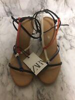 Zara Size 6 Multicolor Open Toe Strappy Back Heels