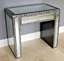 1 Drawer Mirrored Side Table Embossed Bedside Storage Cabinet Vintage Dresser