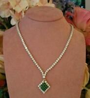 "Estate 21Ct Brilliant Emerald & Diamond 14k Yellow Gold Over Tennis 16"" Necklace"