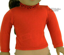 """Orange/Rust Long Sleeve T-Shirt Ruffle Neck for 18"""" American Girl Doll Clothes"""