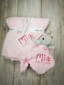 Personalised  embroidered BABY WAFFLE BLANKET & comforter set luxury new