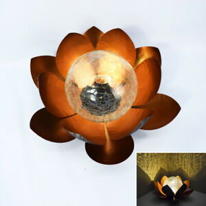 Solar LED Lights Crackle Glass Metal Flower Lotus Outdoor Patio Garden Decor