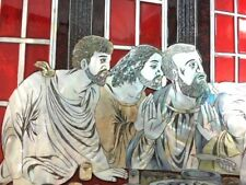 Jesus The Last Supper Inlaid Mother Of Pearl Hand Painted Lacquered Wood Art