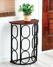 Half Moon End Table Console Metal Wood Top Geometric Accent Entry Hallway SMALL